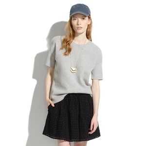 Madewell Gray Short Sleeve Structured Sweater